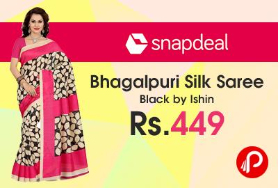 Bhagalpuri Silk Saree Black by Ishin just at Rs.449 - Snapdeal