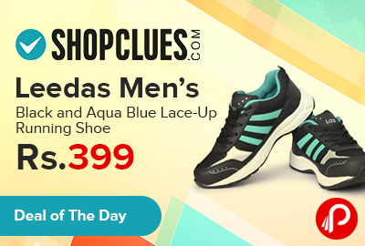 Leedas Men's Black and Aqua Blue Lace-Up Running Shoe