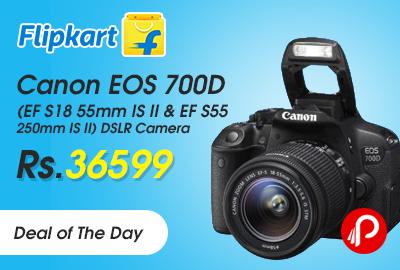 46389bb5ce9 Canon EOS 700D (EF S18 55mm IS II   EF S55 250mm IS II) DSLR Camera just  Rs.36599 – Flipkart