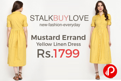 Mustard Errand Yellow Linen Dress