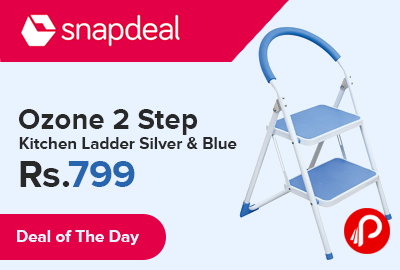 Ozone 2 Step Kitchen Ladder Silver & Blue just at Rs.799 - Snapdeal