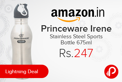 Princeware Irene Stainless Steel Sports Bottle 675ml just at Rs.247 - Amazon