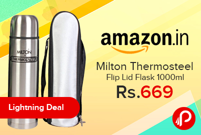 Milton Thermosteel Flip Lid Flask 1000ml Just at Rs.669 - Amazon