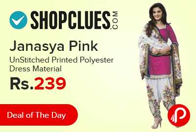 Janasya Pink UnStitched Printed Polyester Dress Material just at Rs.239 - Shopclues