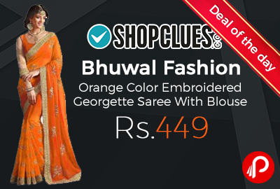 Bhuwal Fashion Orange Color Embroidered Georgette Saree With Blouse