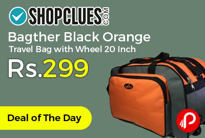 Bagther Black Orange Travel Bag with Wheel 20 Inch