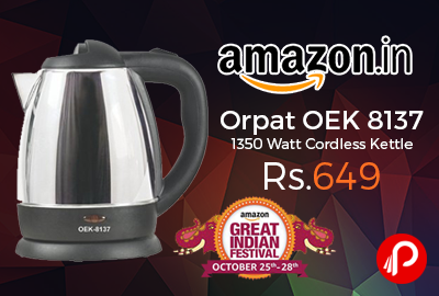 Orpat OEK 8137 1350 Watt Cordless Kettle