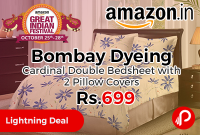 Bombay Dyeing Cardinal Double Bedsheet with 2 Pillow Covers