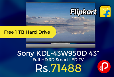 "Sony KDL-43W950D 43"" Full HD 3D Smart LED TV"