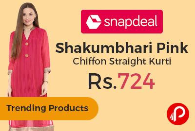 44ebd6b2836 Shakumbhari Pink Chiffon Straight Kurti