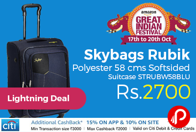 Skybags Rubik Polyester 58 cms Softsided Suitcase STRUBW58BLU