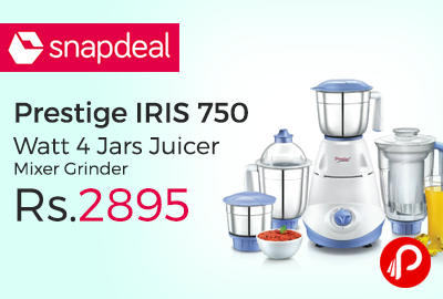 31b25cb1453 Prestige IRIS 750 Watt 4 Jars Juicer Mixer Grinder at Rs.2895 – Snapdeal