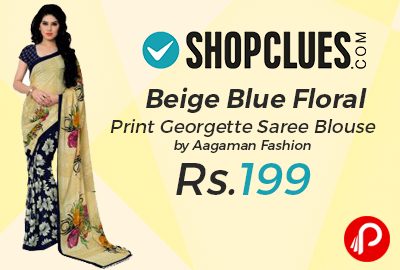 Beige Blue Floral Print Georgette Saree Blouse