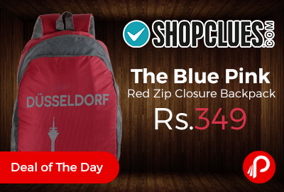 The Blue Pink Red Zip Closure Backpack
