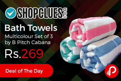 Bath Towels Multicolour Set of 3 by B Pitch Cabana