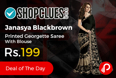 Janasya Blackbrown Printed Georgette Saree