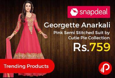 Georgette Anarkali Pink Semi Stitched Suit