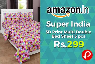 Super India 3D Print Multi Double Bed Sheet 3 pcs J