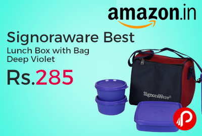 Signoraware Best Lunch Box with Bag Deep Violet