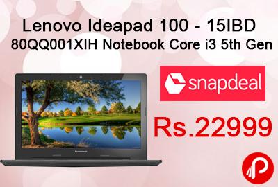 Lenovo Ideapad 100 - 15IBD 80QQ001XIH Notebook Core i3 5th Gen