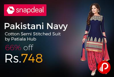 Pakistani Navy Cotton Semi Stitched Suit