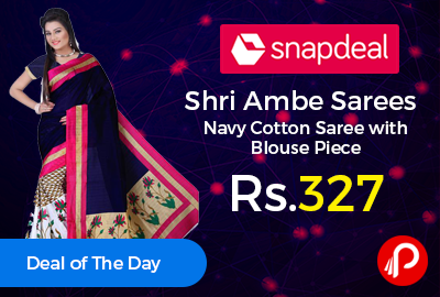 Shri Ambe Sarees Navy Cotton Saree with Blouse Piece J