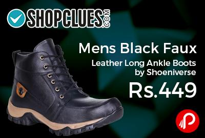 Mens Black Faux Leather Long Ankle Boots