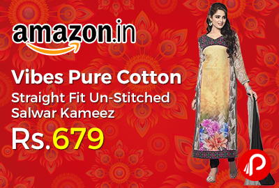 Vibes Pure Cotton Straight Fit Un-Stitched Salwar Kameez