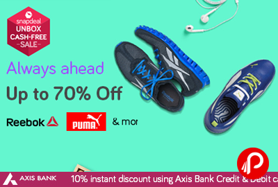 low priced fc42d b63a7 Reebok, Puma Shoes Upto 70% off + 10% Instant discount from AXIS – Snapdeal