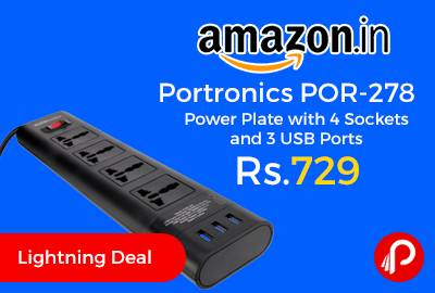 Portronics POR-278 Power Plate with 4 Sockets and 3 USB Ports
