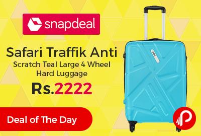 Safari Traffik Anti Scratch Teal Large 4 Wheel Hard Luggage