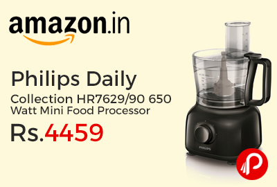 Philips Daily Collection HR7629/90 650 Watt Mini Food Processor Just at Rs.4459 - Amazon