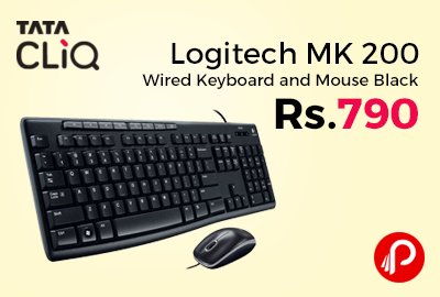 Logitech MK 200 Wired Keyboard and Mouse Black