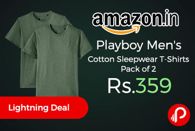 Playboy Men's Cotton Sleepwear T-Shirts Pack of 2 Just at Rs.359 - Amazon