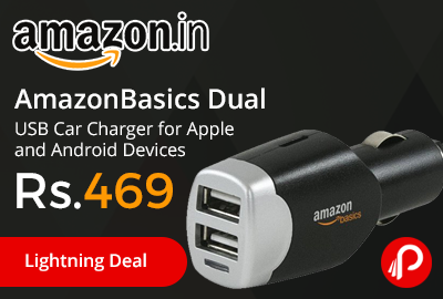 AmazonBasics Dual USB Car Charger for Apple and Android Devices