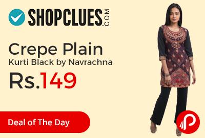 Crepe Plain Kurti Black