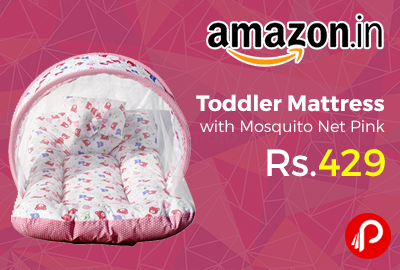 Toddler Mattress with Mosquito Net Pink