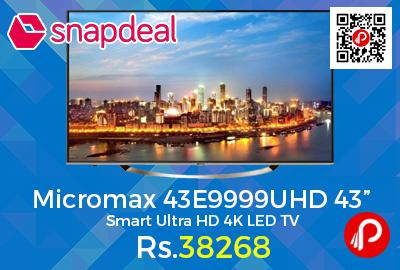 "Micromax 43E9999UHD 43"" Smart Ultra HD 4K LED TV"