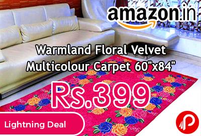 "Warmland Floral Velvet Multicolour Carpet 60""x84"""