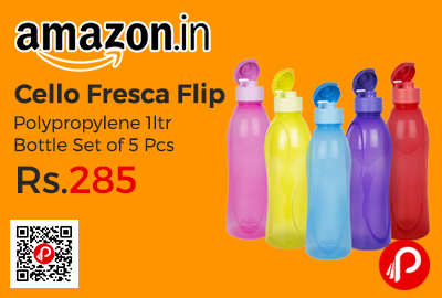 Cello Fresca Flip Polypropylene 1ltr Bottle Set of 5