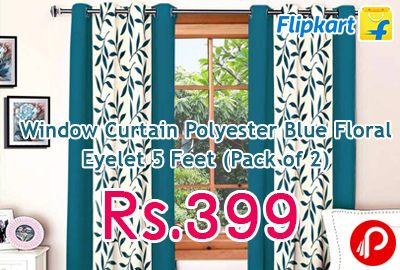 Window Curtain Polyester Blue Floral Eyelet 5 Feet