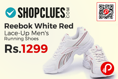 Reebok White Red Lace-Up Men's Running Shoes