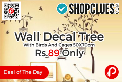 Wall Decal Tree With Birds And Cages 50X70cm