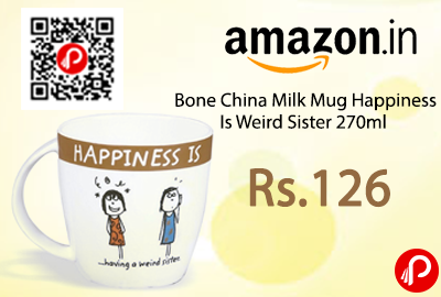 Bone China Milk Mug Happiness Is Weird Sister 270ml