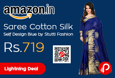 Saree Cotton Silk Self Design Blue