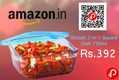 Borosil 3-in-1 Square Dish 750ml