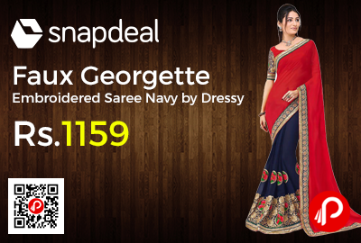 Faux Georgette Embroidered Saree Navy