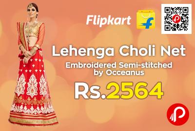 6f49913e9 Lehenga Choli Net Embroidered Semi-stitched
