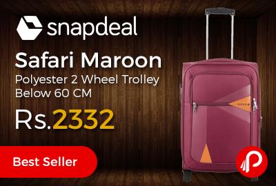 Safari Maroon Polyester 2 Wheel Trolley Below 60 CM