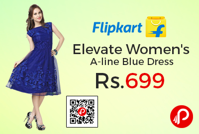 Elevate Women's A-line Blue Dress